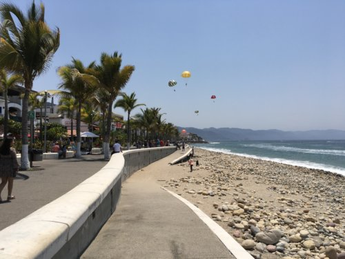 Flying a kite on a rocky beach - Jalisco, Mexico with Kids