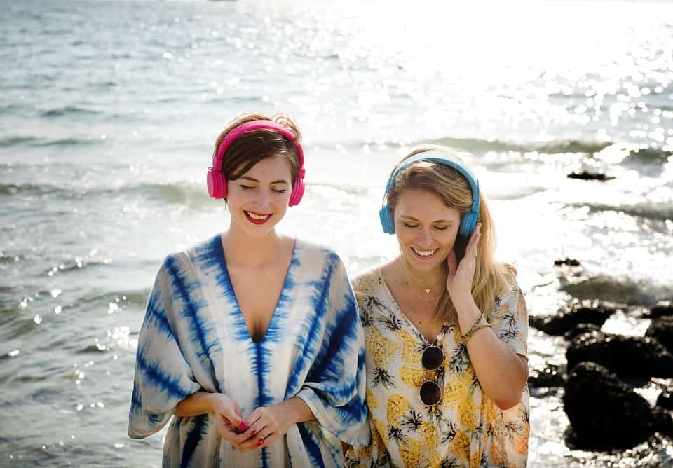 Girls listening music