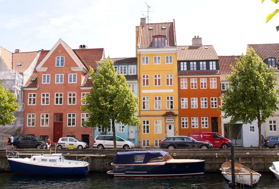 Colorful houses in Copenhagen, Denmark
