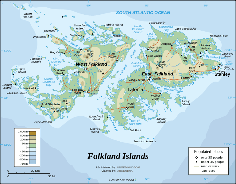 Map of Falkland island