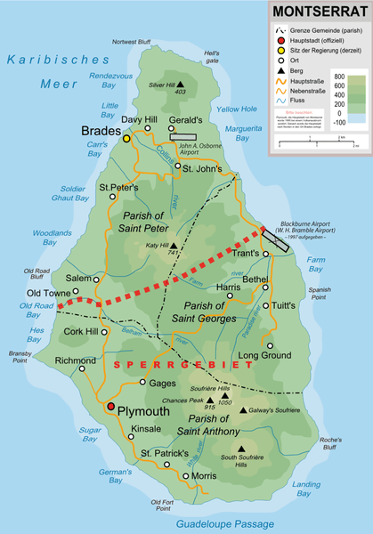 Map of Montserrat Island