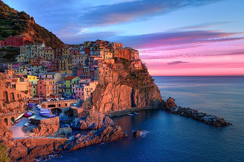 Watching sunset from Cinque Terre