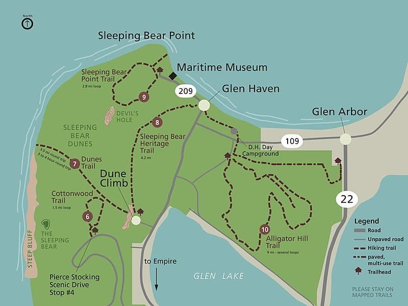 Sleeping Bear Dunes map